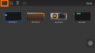 GarageBand - Smart Strings - Drop down box - My Music list - ringtone - Share
