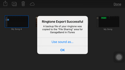 GarageBand - Smart Strings - Drop down box - My Music list - ringtone export successful