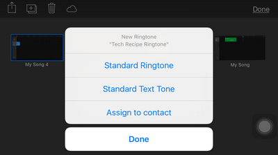 GarageBand - Smart Strings - Drop down box - My Music list - ringtone export type