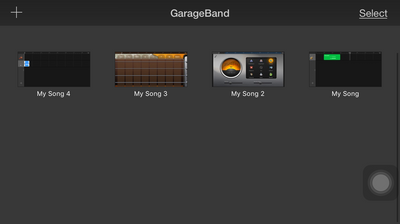 GarageBand - Smart Strings - Drop down box - My Music list