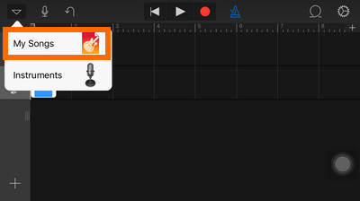 GarageBand - Smart Strings - Drop down box - My Music