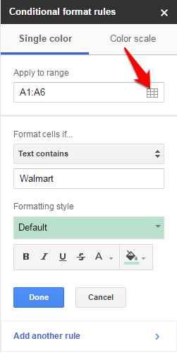 Google Sheets Apply Conditional Formatting