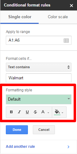 Google Sheets Highlighting Style