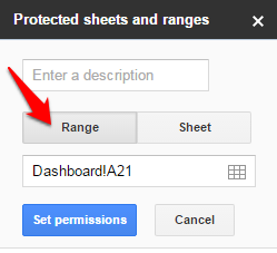 Google Sheets Protect Range