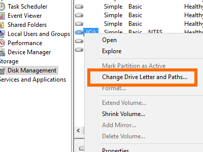 Windows - Computer Management - Storage - Disk Management - Change Drive Letter and Paths