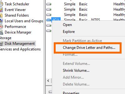 Windows - Computer Management - Storage - Disk Management - Change Drive Letter and Paths