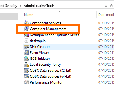 Windows - Control Panel - System Security - Administrative Tools - Computer Management