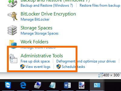 Windows - Control Panel - System Security - Administrative Tools