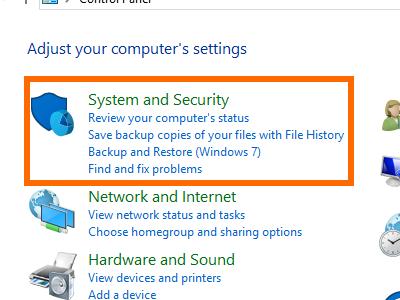 Windows - Control Panel - System Security