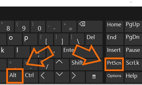 Windows Keyboard PrtSc Print Screen + Alt Key