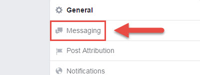 Facebook page messaging setting