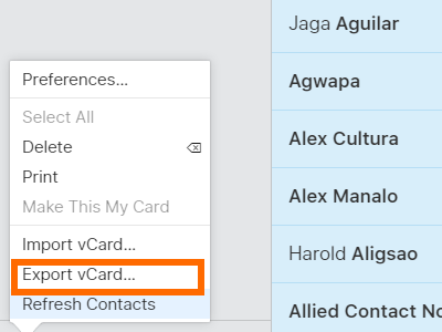iCLoud - Contacts - Export Contacts