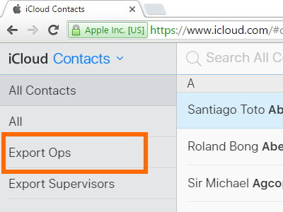 iCloud - Contacts Group - Choose Group