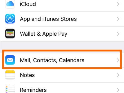 iPhone Mail Contact Calendar