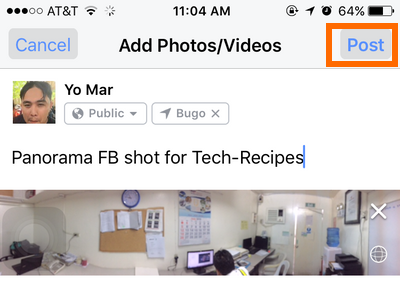 iphone Facebook Status - post button