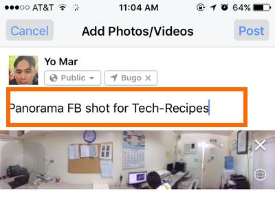 iphone Facebook Status - wrtie something