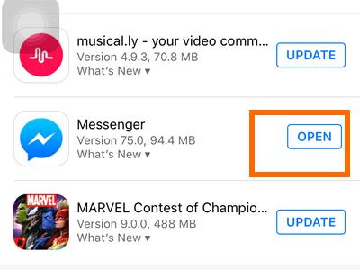 iphone - app store - update - open button