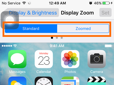 iphone settings display and brightness - standard and zoome