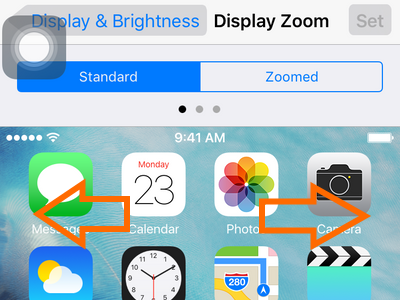 iphone settings display and brightness - standard and zoomed - left and right