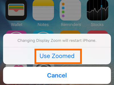 iphone settings display and brightness - use zoomed