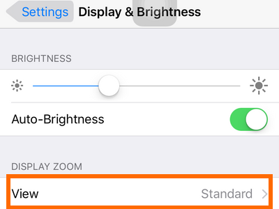 iphone settings display and brightness view