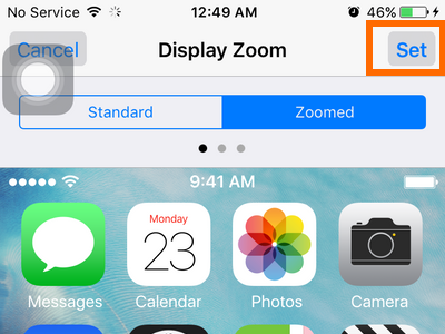 iphone settings display and brightness - zoomed - Set