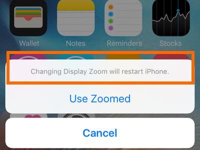 iphone settings display and brightness - zoomed - message