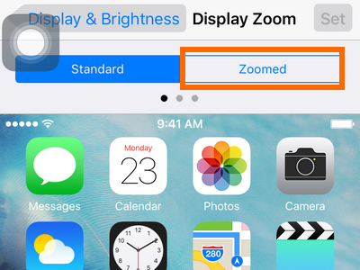 iphone settings display and brightness - zoomed