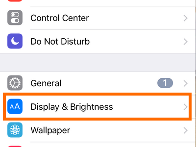 iphone settings display and brightness
