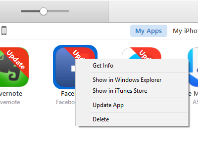 itunes -app store - app for update - right cllick