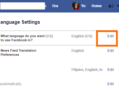 Facebook Settings - Language - Change Language