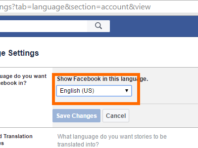 Facebook Settings - Language Drop Down