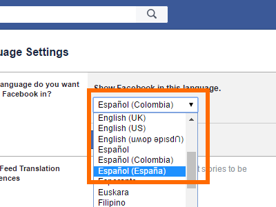 Facebook Settings - Language List