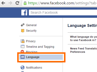 Facebook Settings - Language