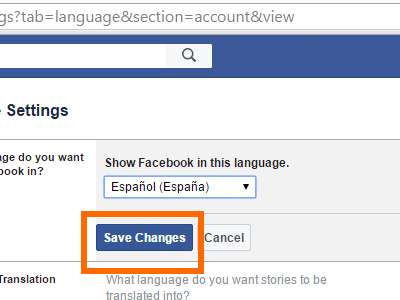 Facebook Settings - Save Language Changes