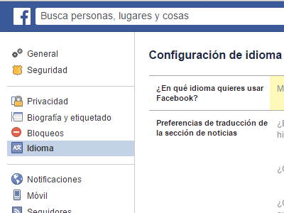 Facebook Settings on Spanish Language