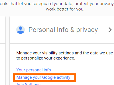 Google Account Page Manage Your Google Activity