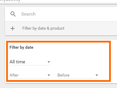 Google Activity Display Filter By Date