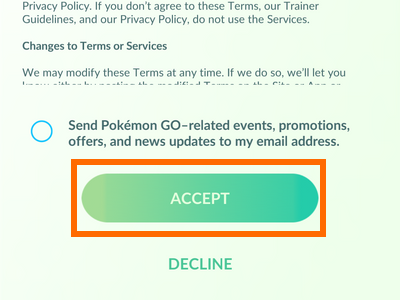 Pokemon Go - TOS Terms of Service - Accept