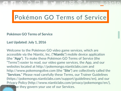 Pokemon Go - TOS Terms of Service