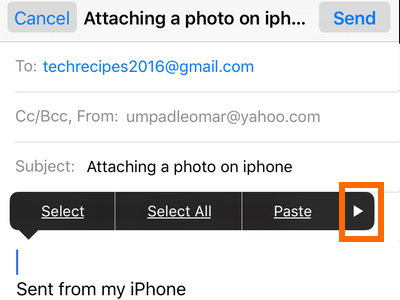 iphone Mail - create message - more options