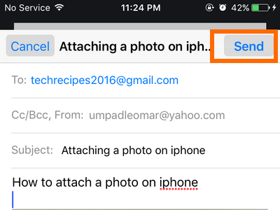 iphone Mail - create message - send button