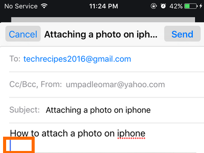 iphone Mail - create message - tap and hold on an empty space