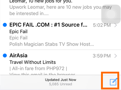 iphone Mail - write new email