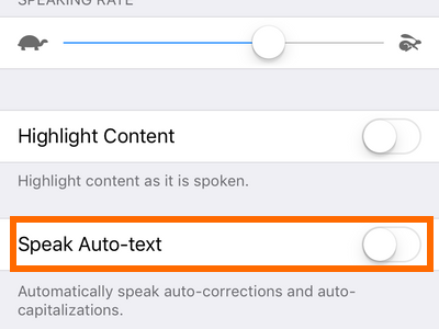 iphone settings Speak Auto Text