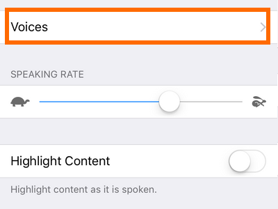 iphone settings Speech rate