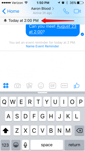 Facebook Messenger reminder set