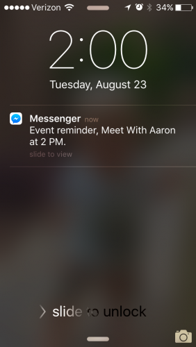 Facebook messenger reminder