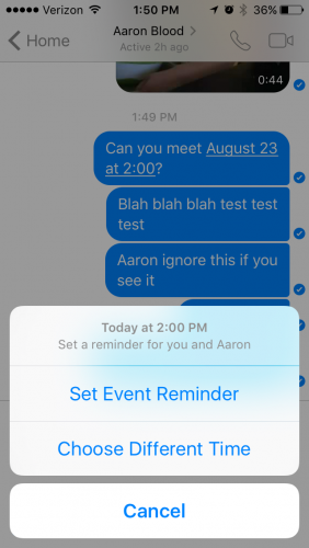 Facebook messenger reminder time