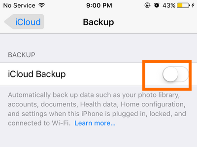 In the backup page tap on the switch to turn on icloud backup